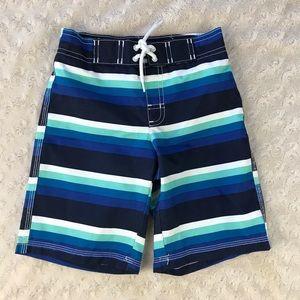 Gymboree Swim Trunks Size 5T Blue White Stripes